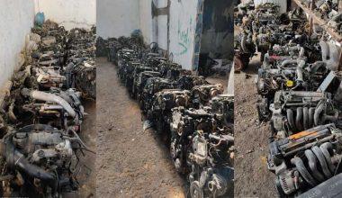 Gaziantep'teki depoda onlarca araba motoru yakalandı