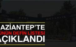 Gaziantep'te vefat edenlerin listesi